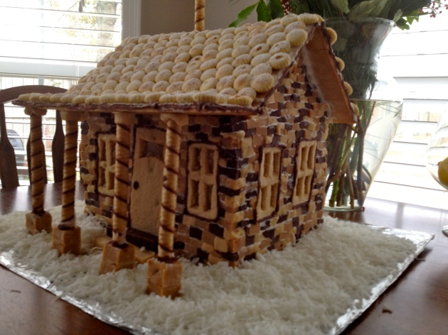 Gingerbread house made from three kinds of fudge bricks