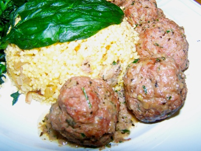 A pathetic attempt of artful food photo -- Indian Lamb Meatballs with millet