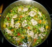Summer vegetable soup with chicken meatballs