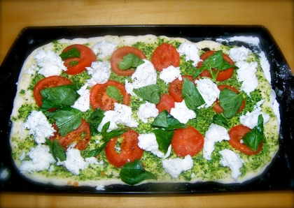 Home made pesto basic and tomato pizza
