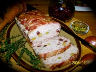 Rabbit Terrine -- a delicate pate with cranberries and pistachios