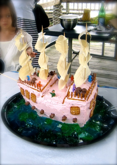 My daughter's 4th birthday cake - Pink Pirate Ship (her idea)