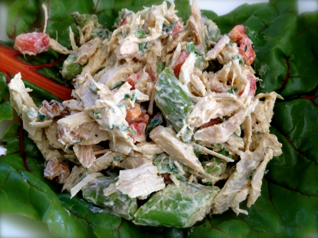 Salad scoop on a pretty swiss chard leaf