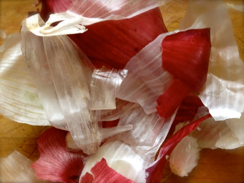 Gorgeous red and white onion peels