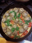 Gorgeous meatballs with creamy garlic and basil sauce
