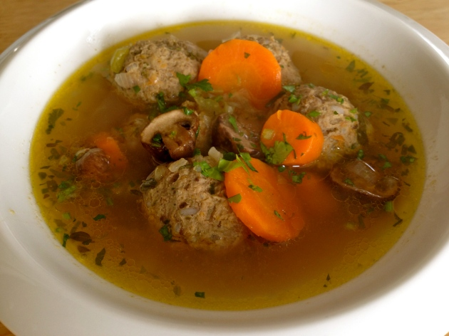 Meatball soup with mushrooms