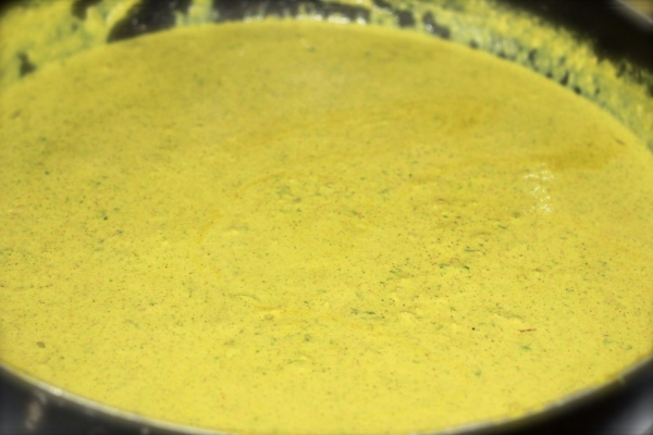 Satsivi sauce, after adding walnut and spice paste