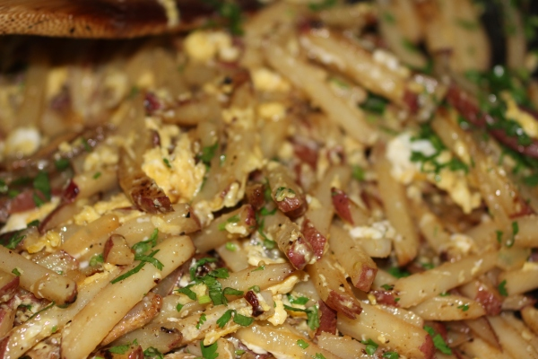 Ultimate comfort food - home fried potatoes with salt pork, onions and eggs
