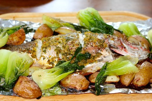 Red Snapper with potatoes and braised Bok Choi, ready to serve
