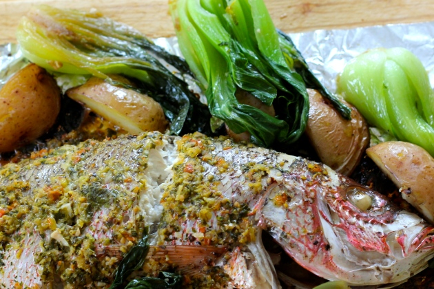 Asian inspired Roasted Red Snapper with Red Potatoes and Braised Bok Choi