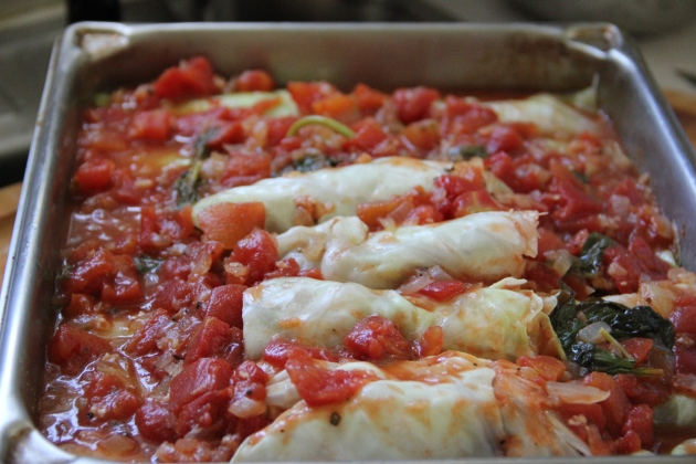 Holubtzi, or Stuffed Cabbage Rolls, ready for the oven