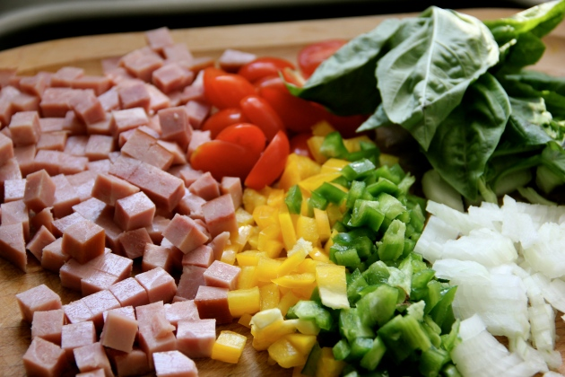 Diced vegetables and ham