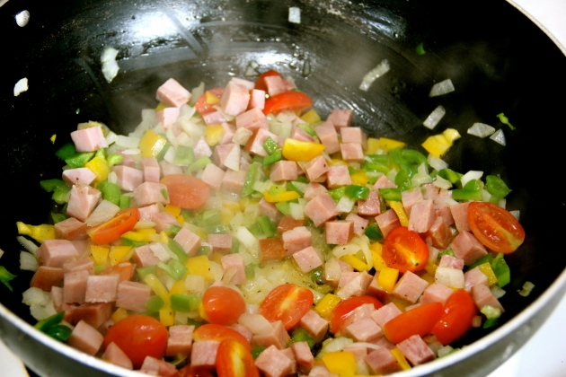Sauteing ham and vegetables