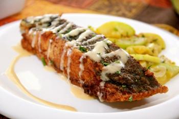 Bon Apetit! Pan fried flounder with lemon Beurre Blanc sauce and garlic squash