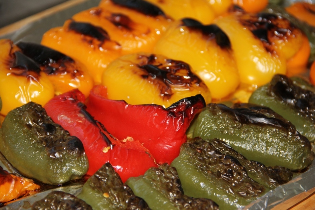 Just out of the oven, blistered, charred but not overcooked - roasted peppers