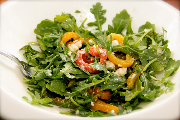 Arugula, Roasted Peppers and Feta Salad
