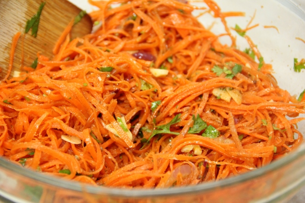 Tossing together Korean Carrot Salad