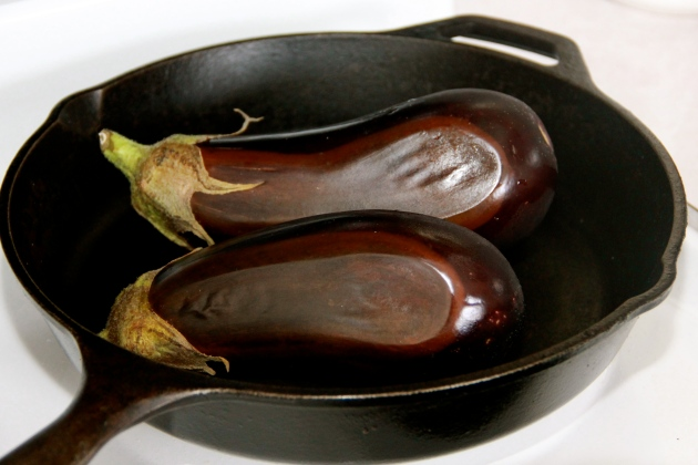 Roasting eggplants in a cast iron skillet