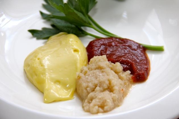 Homemade lacto-fermented mayonnaise, horseradish relish and ketchup