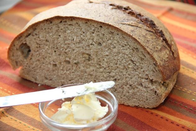 Homemade wild fermentation sourdough with homemade butter