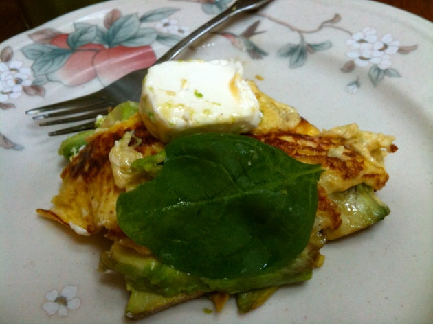 Mother's Day breakfast -- toast with ham, avocado, omelette, cream cheese and spinach
