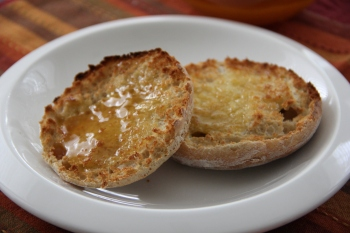 Sourdough English Muffins with home made butter and raw honey