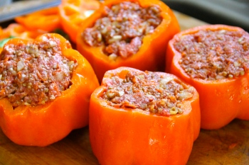 Sweet peppers stuffed with beef and couscous