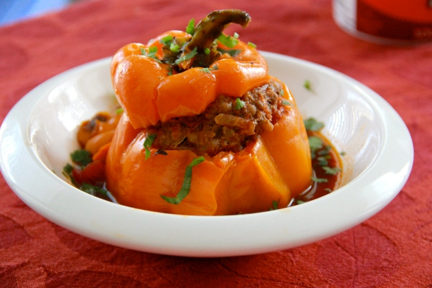 Please to the table -- stuffed sweet peppers with beef and couscous