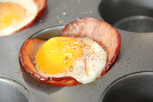 Ham and egg baked in a muffin tin