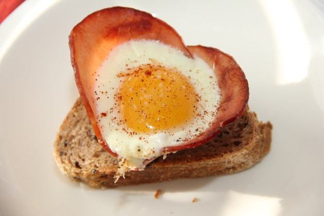 Saturday breakfast -- ham and egg flowers over a toast