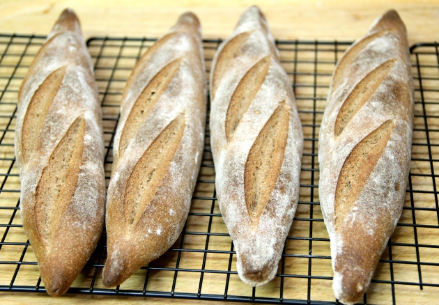 Whole wheat batards with buckwheat