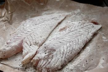 Flour dusted grouper fillets