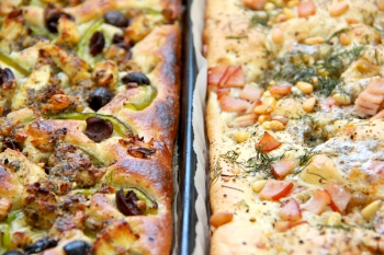 Focaccia fresh out of the oven