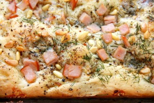 Ham, blue cheese, pine nuts and dill focaccia