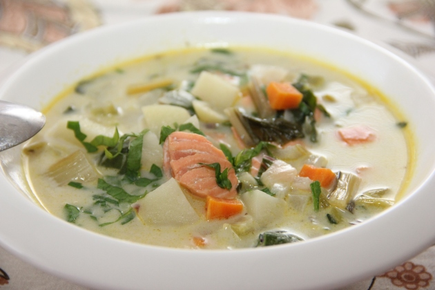 Salmon Chowder with Rainbow Chard