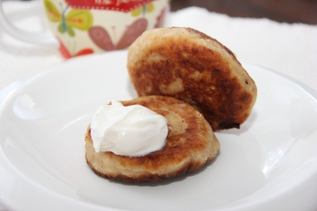 Farmer Cheese Patties with a dollop of plain yogurt