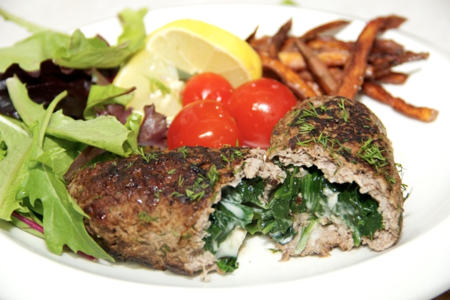 Spinach Stuffed Lamb Cutlets