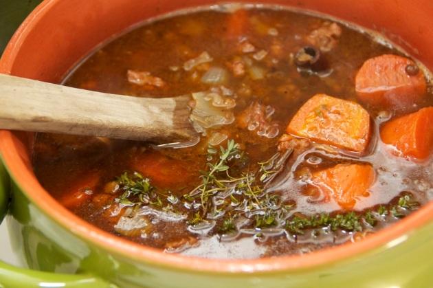 Spanich Sausage & Lentil Soup in a bean pot