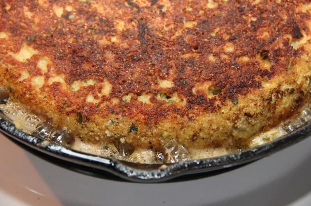 Making Fish Roe Skillet Pie -- freshly flipped pie