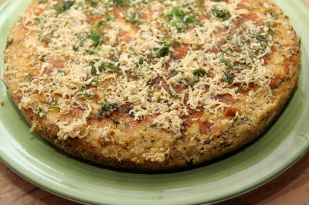 Making Fish Roe Skillet Pie -- ready to serve