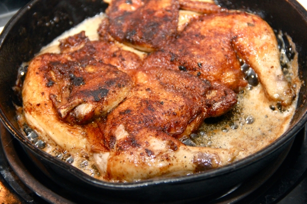 Chicken Tapaka -- Frying in a skillet