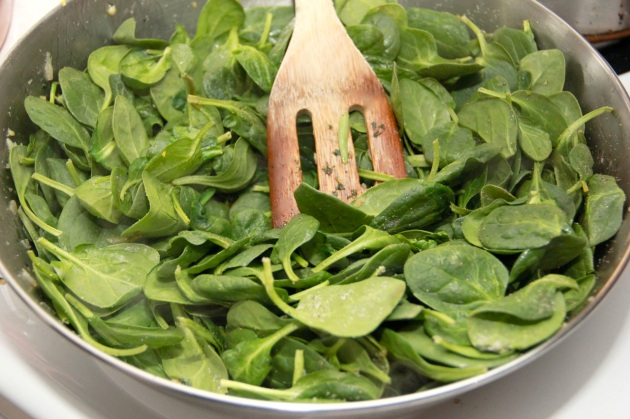 Preparing Spinach topping for Polenta Pizza