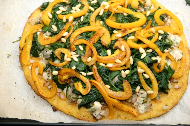 Fake Polenta Pizza With Many Toppings