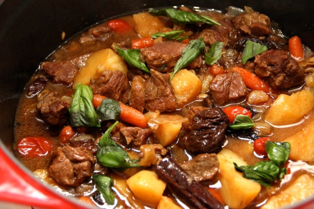 Quick Lamb Stew with Prunes and Grape Tomatoes