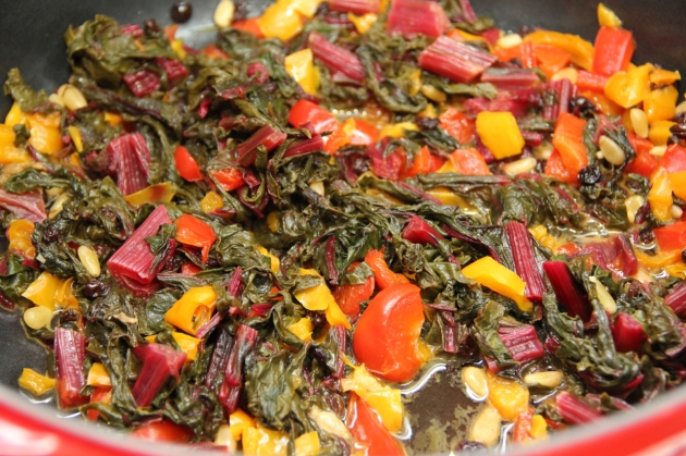 A Vegetable Portion of Mallorca Group Recipe - Chard, Peppers, Tomatoes, pine nuts and currants