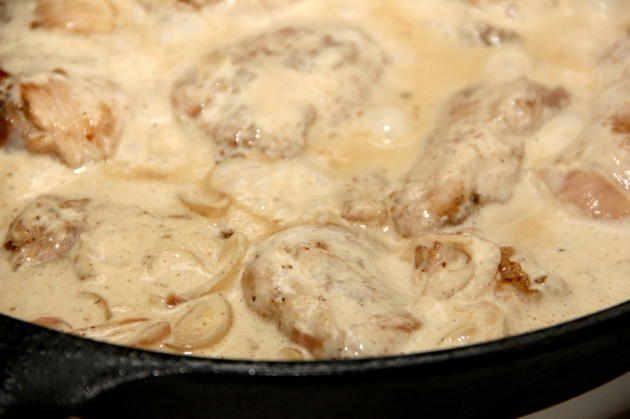 Rabbit In Creamy Mustard Sauce -- simmering in sauce