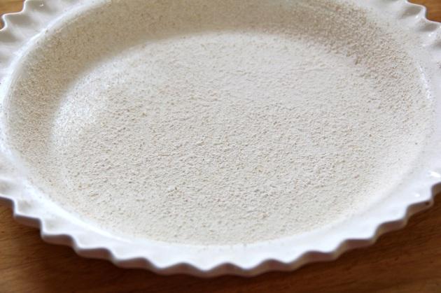 Making Strawberry Cake -- Floured Pie Dish