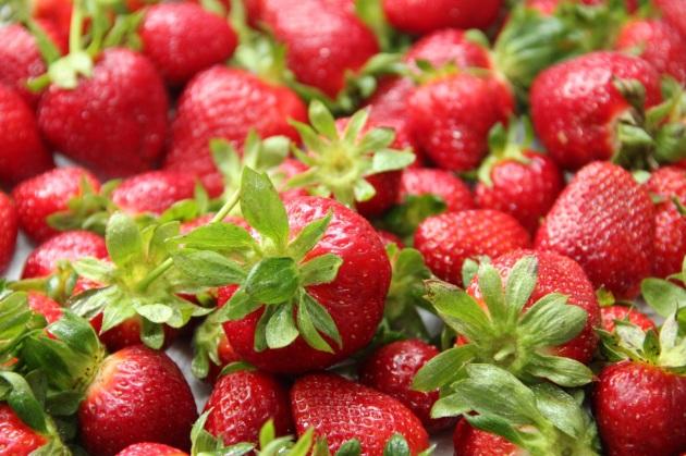 Making Strawberry Cake -- freshly picked strawberries