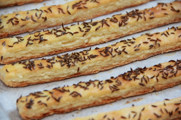 Cheese Sticks With Caraway Seed -- freshly baked