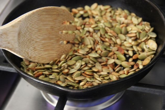 Toasting Pumpkin Seeds for Spinach & Pumpkin Seed Pesto